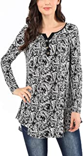 AVTOSRNO Women's Plaid Sleeve Floral V Neck Tops Casual Tunic Blouse Loose Shirt