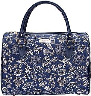 Navy Blue Sea Shell Travel Bag by Signare/Lightweight Flight Weekend Overnight Beach Carry-On Hand Luggage/TRAV-SHELL