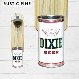Wall Mounted Bottle Opener with Vintage Dixie Beer Can Cap Catcher