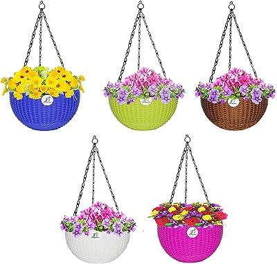 Florobasket Hanging Plastic Flower Pot for Home Gardening Multicolor