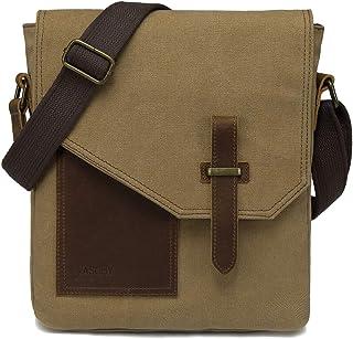 Klein Schultertasche Herren, VASCHY Vintage Segeltuch Herrentasche Echtes Leder Umhängetasche Männer Kuriertasche Crossbody für Arbeit, Schule, Alltag Khaki