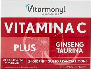 Vitarmonyl Vitalità Compresse Masticabili di Vitamina C Plus, Ginseng, Taurina, Confezione da 4 x 24 Compresse