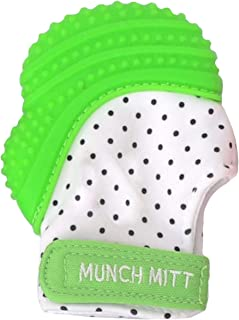 Munch Mitt Teething Mitten is Teether That Stays on Baby's Hand for Self-Soothing Pain Relief, Green