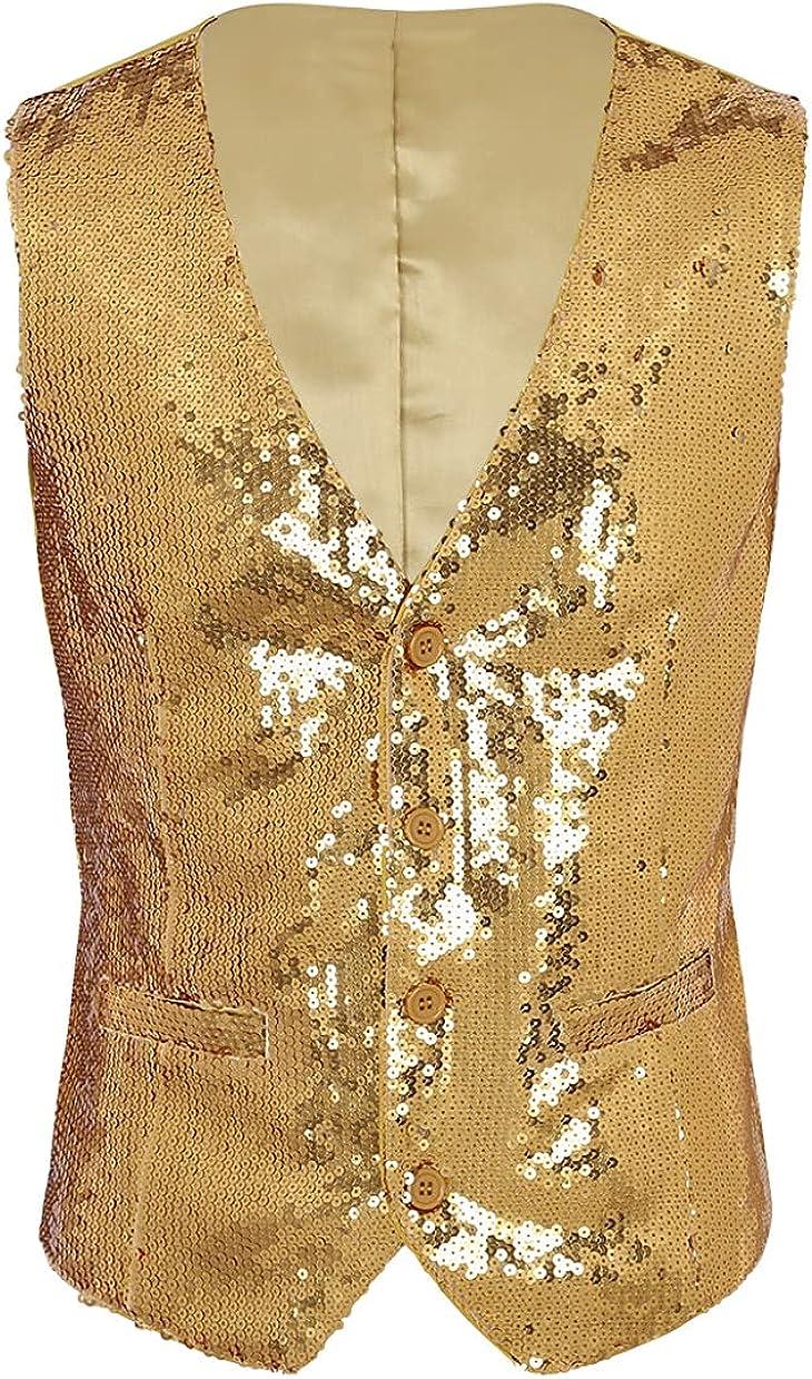 QinCiao Men's V Neck Sleeveless Sequins Vest Shiny Waistcoat for Wedding Party Dinner
