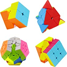 H XD global Speed Cube Set of 2x2 3x3 Pyramid Magic Cube, Megaminx Cube, Stickerless Cube, Intelligence Puzzle Toy (4 Pack)