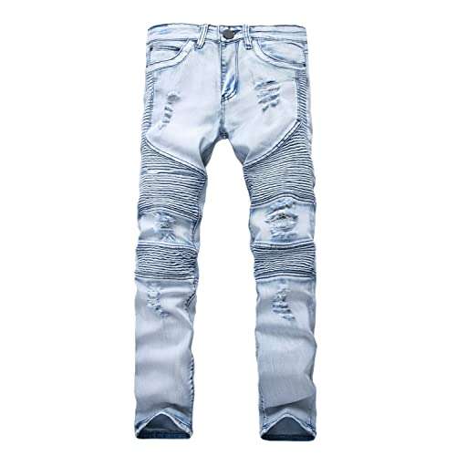 0f15002efa87 NITAGUT Men's Ripped Destroyed Distressed Slim Fit Jeans Biker Jeans