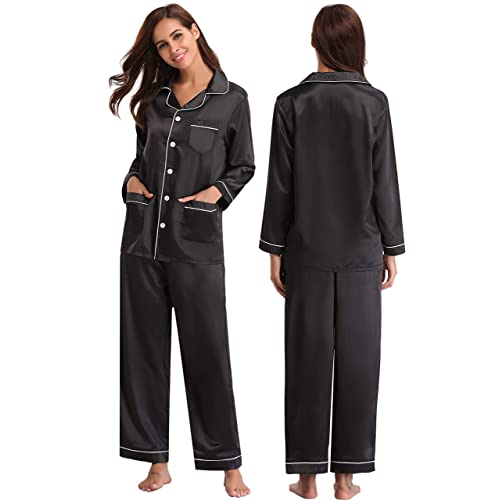 5f35c7b744 Black Silk Pyjamas  Amazon.co.uk