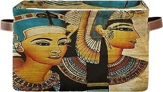 Lot de 2 paniers de rangement ALARGE géométriques vintage africain égyptien pliable panier à linge organiseur de jouets cu...