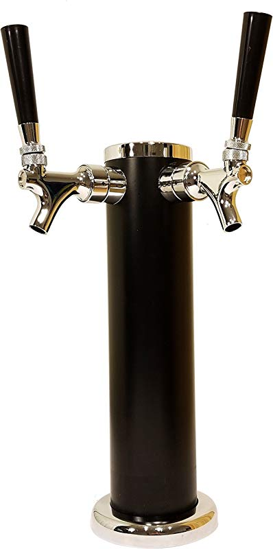 DOUBLE TAP DRAFT BEER TOWER 2 TAP BEER COLUMN 13 HIGH 3 DIAMETER STAINLESS STEEL BODY WITH UNIQUE BLACK SATIN FINISH CHROME FINISH FAUCETS BEERGON BT 1000