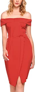 Women's Sexy Off Shoulder Draped Split Bodycon Cocktail Party Pencil Dress
