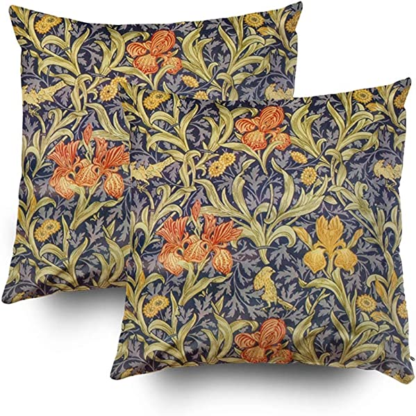 Shorping Christmas Zippered Pillow Covers Pillowcases 18x18Inch 2 Pack By William Morris Decorative Throw Pillow Cover Pillow Cases Cushion Cover For Home Sofa Bedding