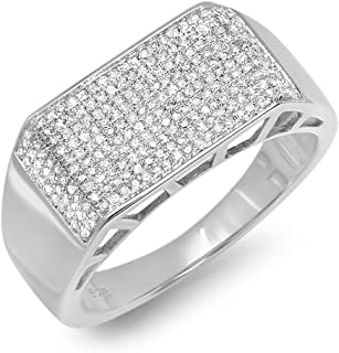 Dazzlingrock Collection 0.85 Carat (ctw) Round White Diamond Mens Flashy Hip Hop Pinky Ring, Sterling Silver