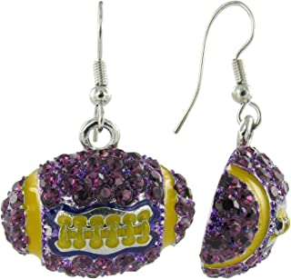 Dome Football Rhinestone Fish Hook Earrings - Purple Crystals and Gold Enamel