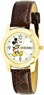 Disney Women's Mickey Mouse Brown Strap Watch