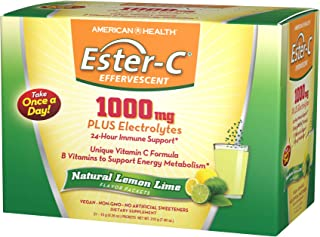 American Health Ester-C Effervescent Powder Packets, Natural Lemon Lime - 24-Hour Immune Support, Supports Energy Metaboli...