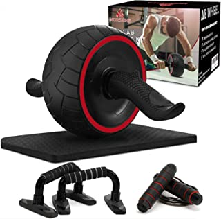NORSENS Ab Roller Wheel, 3-in-1 Ab Wheel Roller for Abdominal Exercise with Knee Pad, Adjustable Speed Jump Rope and Push up Bars, Exercise Equipment for Home Gym Office Workout