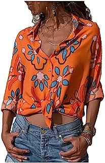 RkYAO Women Floral Printed Long-Sleeve Cardi Loose Turn Down Collar Chiffon Tops