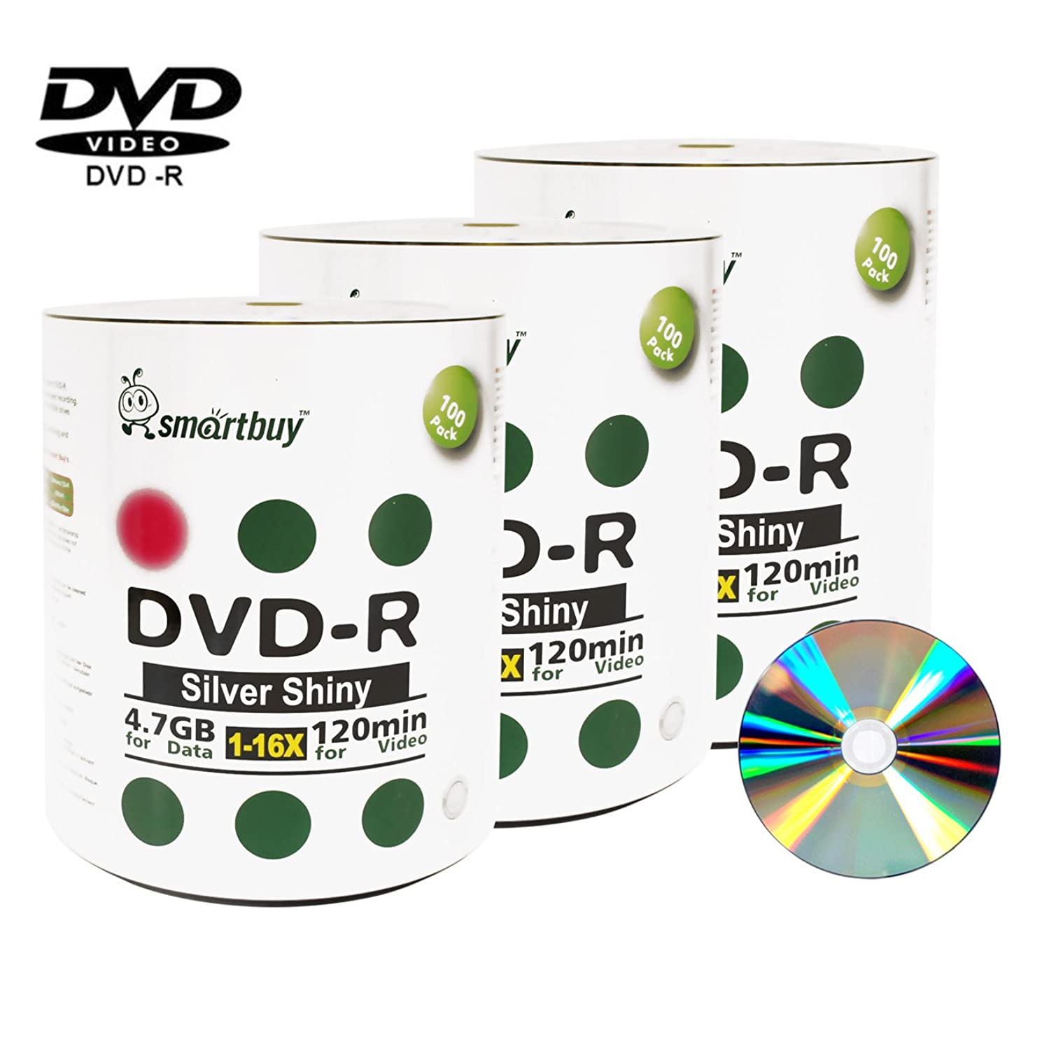 Smart Buy 300 Pack DVD-r 4.7gb 16x Shiny Silver Blank Data Video Movie Recordable Media Disc, 300 Disc 300pk