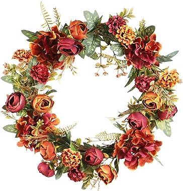 Deco Noël Exterieur Couronne de Chute Artificielle Porte Lifelike Pendaison Couronne Guirlande décoratif décoration fenêtre A
