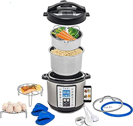 Total Package 9-in-1 Instant Multi-Use Programmable Pressure Cooker, Deluxe Accessory Kit & Recipes. Pressure Cook, Slow Cook, Sauté, Egg, Rice Cooker, Yogurt, Steamer, Hot Pot by Yedi Houseware (6Qt)