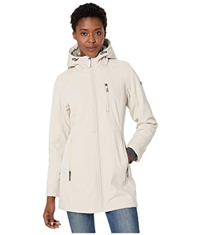 Calvin Klein Softshell Jacket with Packable Bib Insert (Oyster) Women