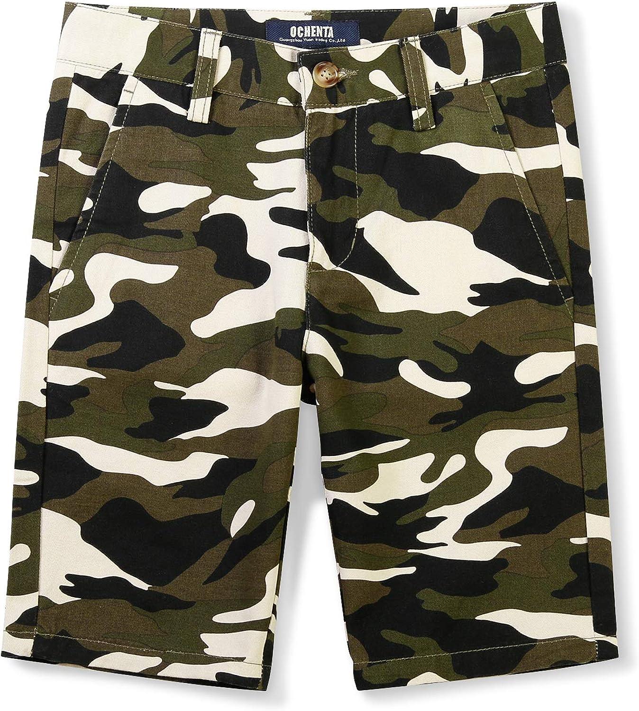 Phorecys Camo Cargo Shorts for Boys, Little Big Boy Uniforms Twill Shorts