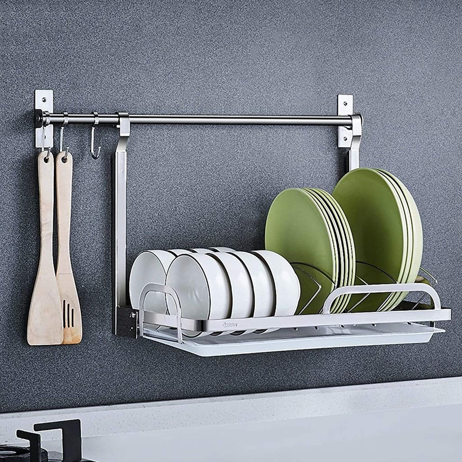 GX Stainless Steel Wall-Mounted Kitchen Shelf,Wall Storage Seasoning Drain Dish Rack(with Hook)