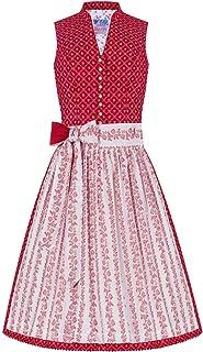 Edelheiss Mini Dirndl 60er rot weiß Gemustert 004986, Baumwolldirndl mit blumigem Rautenmuster,Trendiger Retro-Schnitt mit V-förmigem Kragen, weiße Schürze mit rotem Blumenmuster