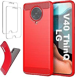 Ttianfa Fodral Case för LG V40 ThinQ,【2x】SkäRmskydd Carbon fiber Bumper ultra tunna 360° helkroppsskydd StöTsäKer Shockpro...