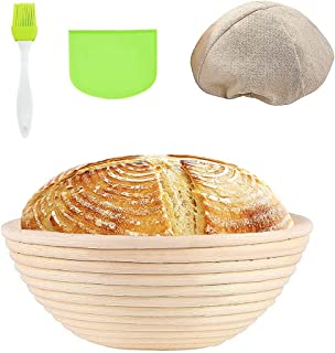 Banneton Proofing Basket Round Sourdough Proofing Basket Set with Cloth Liner Dough Scraper Silicone Brush Natural Rattan Bread Basket Smooth Durable for Professional & Home Bakers (1Pack, 10in)