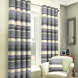 Tony's Textiles Pair of Striped Lined Window Treatment Drapes Curtains with Eyelet Grommet Top 46