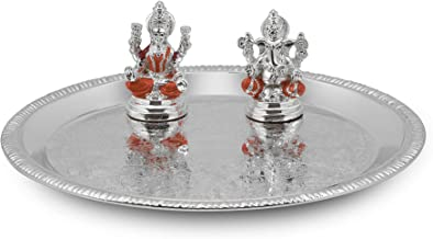 Momentz Silver Plated Laxmi Ganesh Pooja Thali Set | Handcrafted Religious Gift Item | for Home Decor | Best Diwali Gift