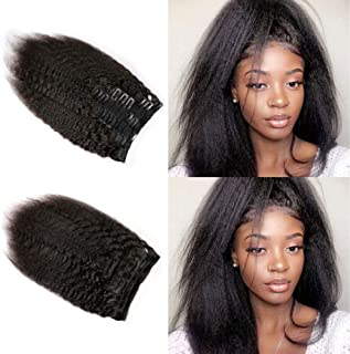 Slove Hair Yaki Straight Clip Ins Brazilian Virgin Hair Extensions Double Weft Kinky Straight Clip In Extensions 8 Pieces 120g 12inch