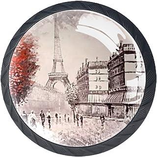 Tiroir Poignées Tirez pour la maison de cuisine commode garde-robe,Arbre Rouge Paris Tour Eiffel