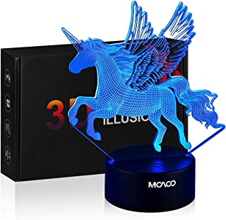 MOAOO Unicorn Gift Unicorn Night Light for Kids 3D Unicorn Light Lamp 16 Colors Change with Remote Cotrol Bedside Lamps Holiday and Birthday Gifts Ideas for Boys Girls Children