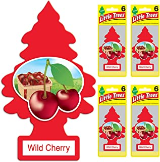 Little Trees Car Air Freshener | Hanging Tree Provides Long Lasting Scent for Auto or Home | Wild Cherry, 6-Packs (4 Count)