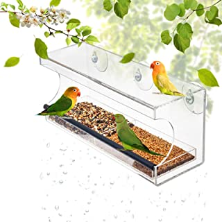 Display4top Garden Acrylic Window Bird Feeder with Strong Suction Cups and Seed Tray.Great Gift for Wild Birds. Large Outside Hanging Birdhouse Kits, Drain Holes and 3 Suction Cups.