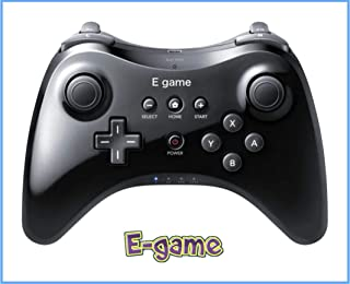 【E-game】 WiiU PRO コントローラー (振動機能付き WiiU専用 ワイヤレスコントローラー)クロス & 日本語説明書 & 1年保証付き「ブラック」