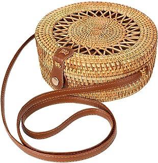 Rattan Bags for Women - Handmade Wicker Woven Purse Handbag Circle Boho Shoulder Bag Bali