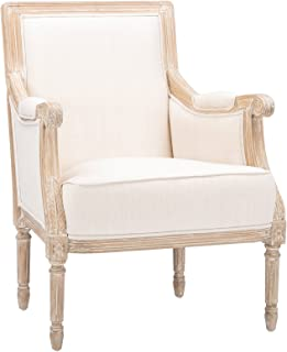 Baxton Studio Chavanon Wood and Linen Traditional French Accent Chair, Light Beige