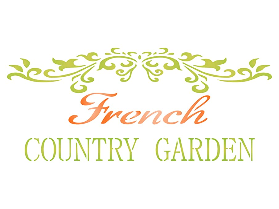 French Country Stencil - 14.5 x 6 inch (L) - Reusable Vintage French Garden Word Wall Stencils for Painting - Use on Paper Projects Scrapbook Journal Walls Floors Fabric Furniture Glass Wood etc.