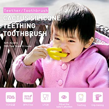Baby Toothbrush Teether Teething Toothbrush Toys Soft Silicone Bristles for Baby and Infant (2pcs Blue and Green)