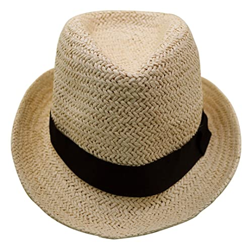 688c735c39c2a8 Millya Boys and Girls Foldable/Rollable Straw Hat Panama Trilby Style Fedora  Sun Hat