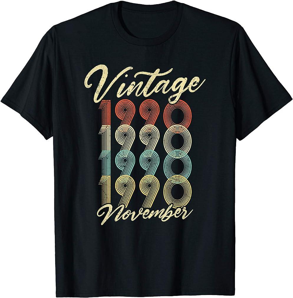 30th Birthday Gift Vintage November 1990 Thirty Years Old T-shirt