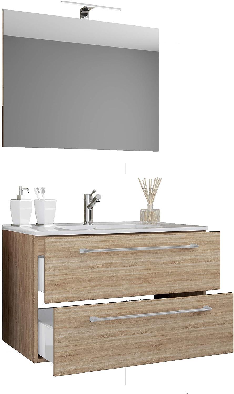 VCM 3-TLG. Waschplatz Badmbel Badezimmer Set Waschtisch Waschbecken Schubladen Keramik Badinos Spiegel Breite 60 cm  Sonoma-Eiche