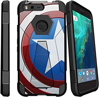MINITURTLE Compatible with [Google Pixel XL] Slim Case, Pixel XL [Stand] Case [Shock Fusion] Slim Fitted Heavy Duty Impact Hard [Stand] Defender Case - America Shield Hero