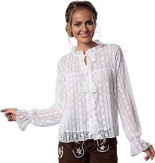 dressforfun dressforfun 900638 Elegante Spitzen Trachtenbluse, Tüll Einsatz, Langarm, weiß - Diverse Größen - M   Nr. 303201
