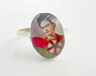 925 Silver Dry Pressed flowers oval Frida Kahlo ring multicolors