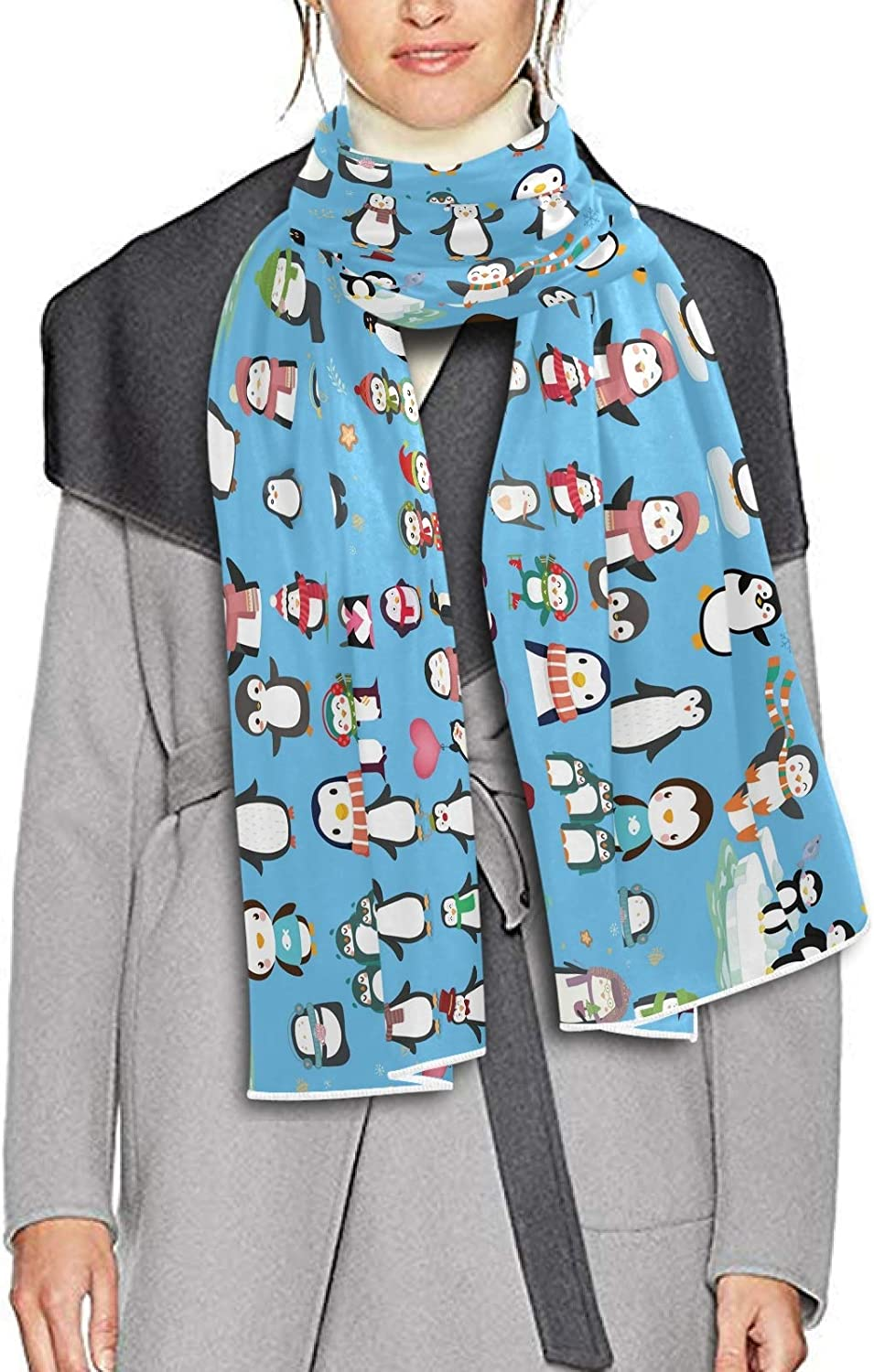 Scarf for Women and Men Penguin Colorful Shawl Wraps Blanket Scarf Soft warm Winter Oversized Scarves Lightweight