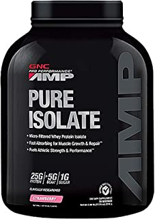 GNC AMP Pure Isolate, Strawberry, 5 lbs, Fuels Athletic Strength and Performance